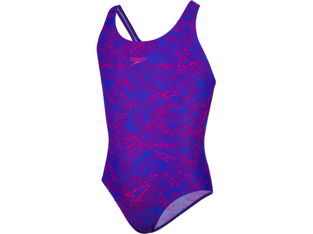 speedo Boom Allover Splashback Bañador Niñas, blue/pink